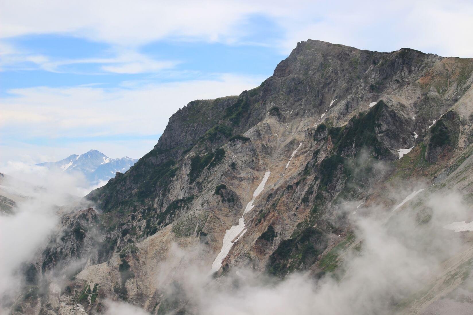 白馬岳と奥に剱岳