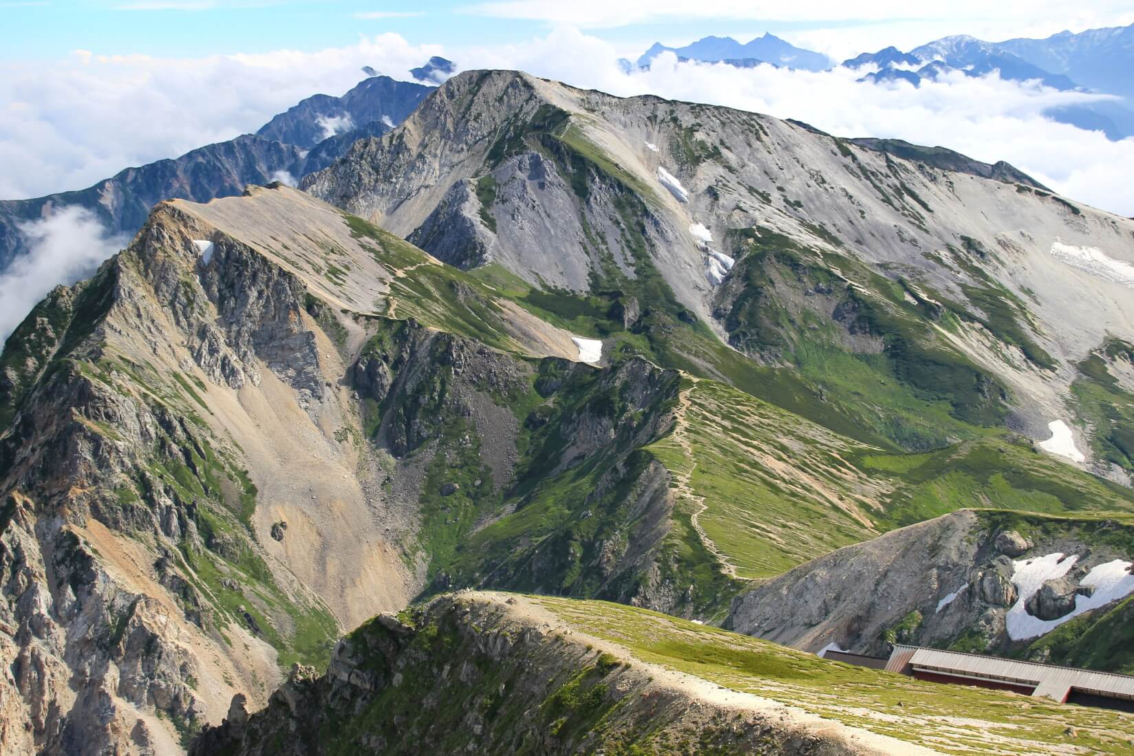 白馬岳より杓子岳、白馬鑓ヶ岳方向