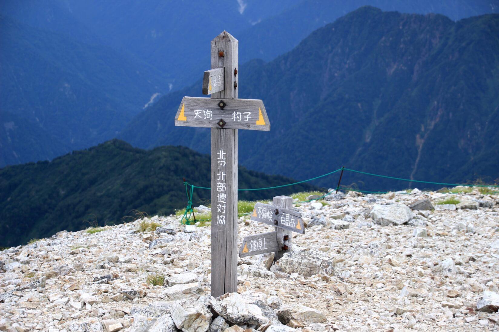 白馬鑓ヶ岳山頂下の分岐点