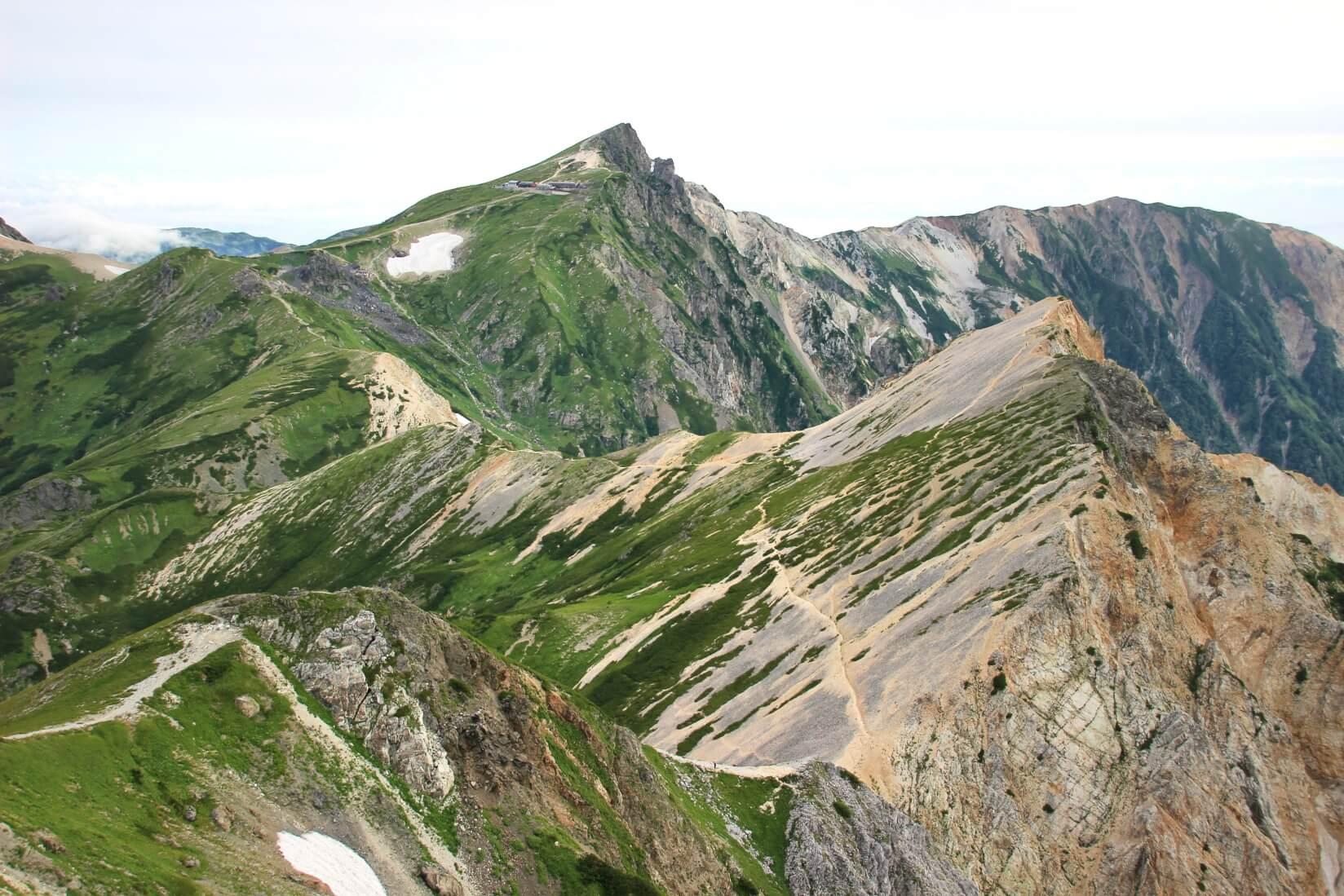 白馬鑓ヶ岳より白馬三山の稜線