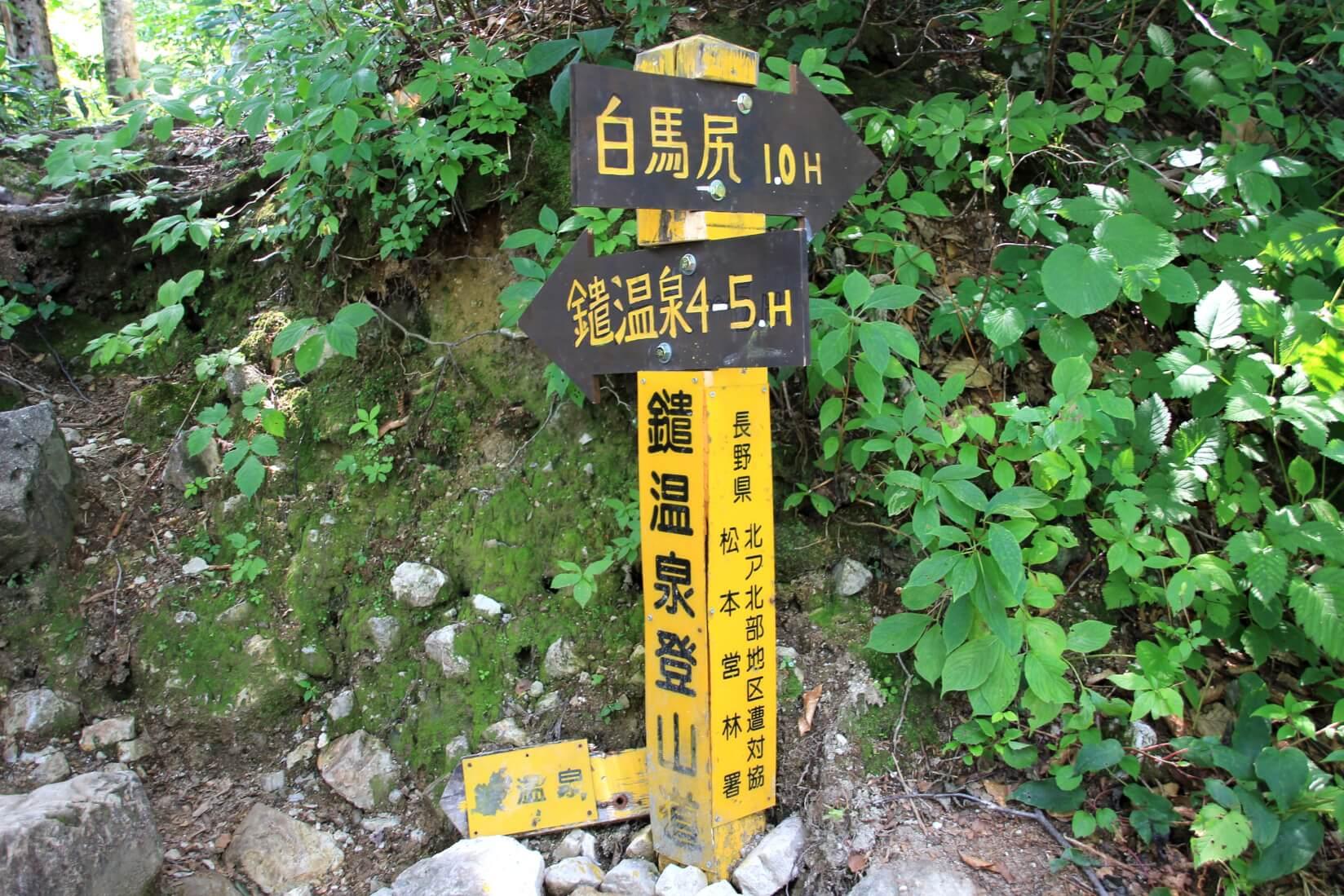 猿倉の鑓温泉登山道入口の分岐