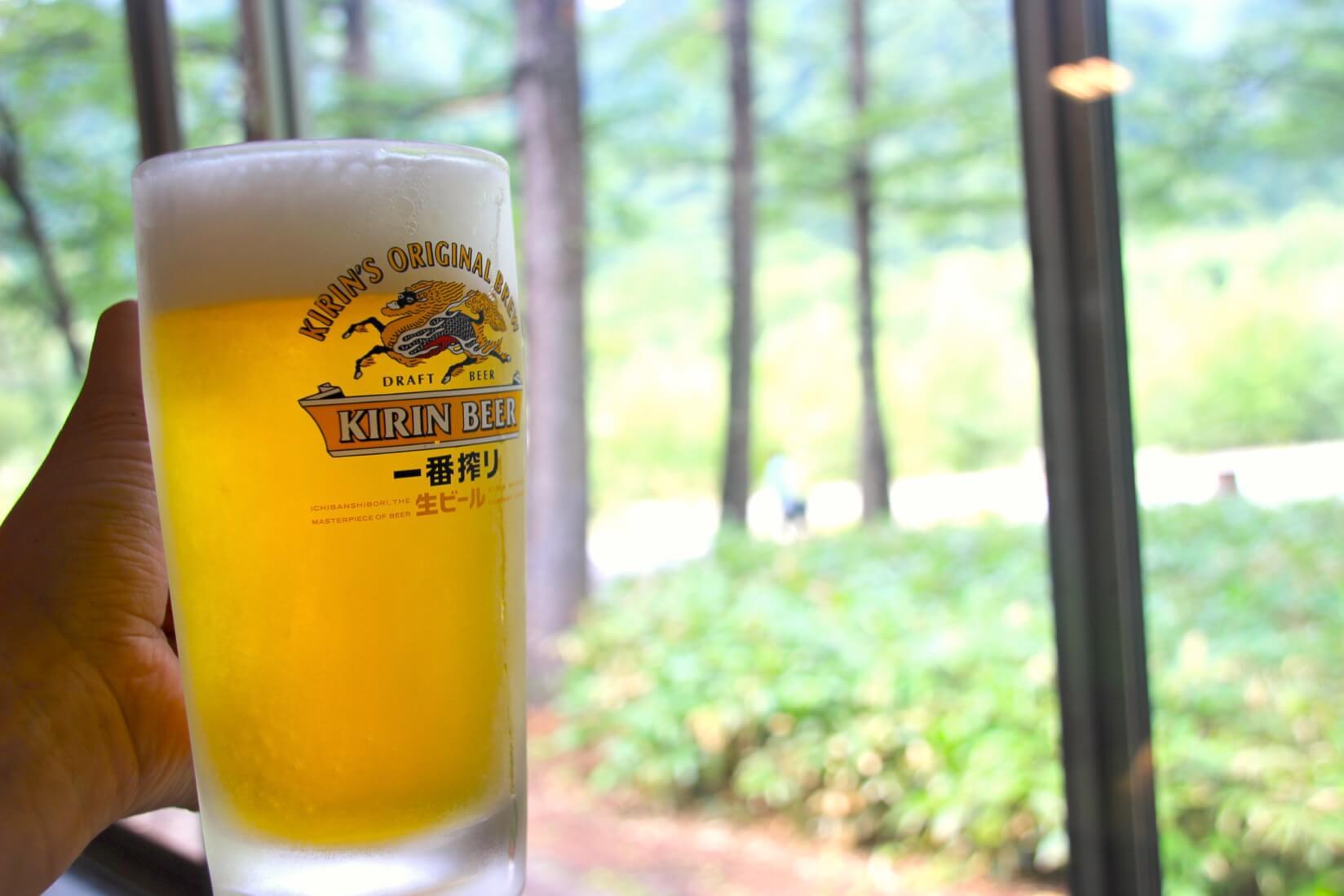 小梨平食堂の生ビール、キリン一番搾り