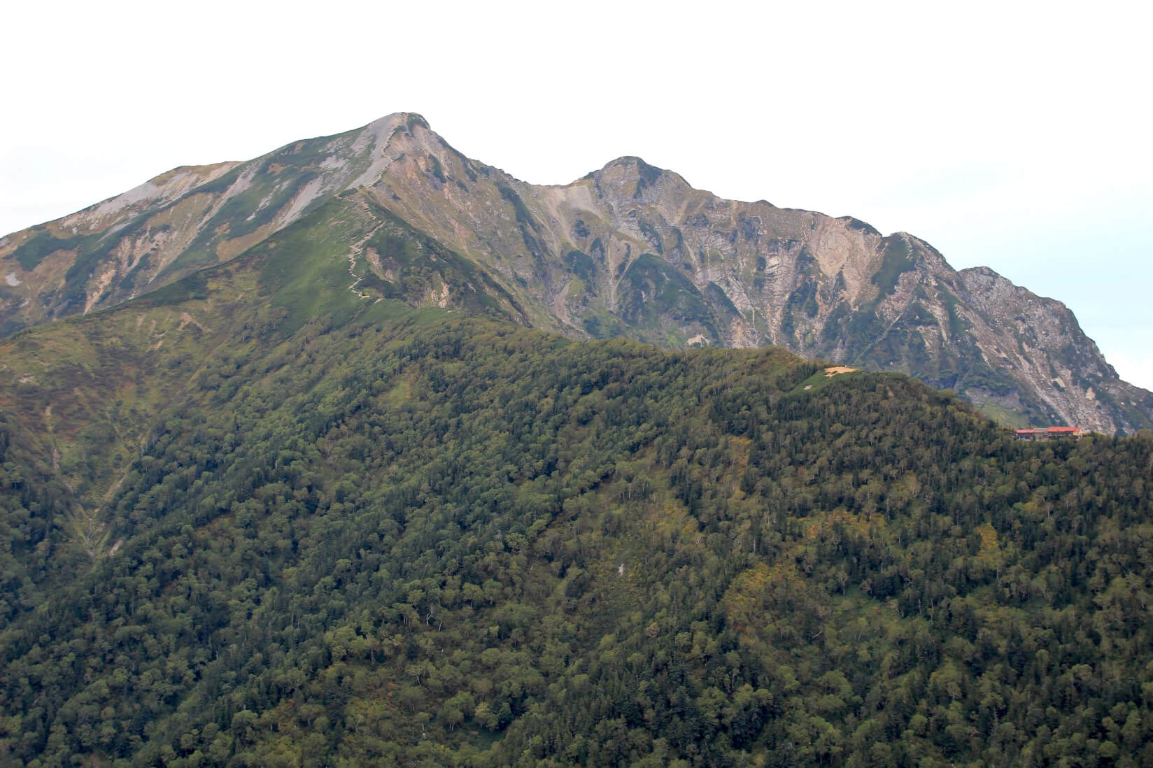 種池山荘から爺ヶ岳にかけての稜線より