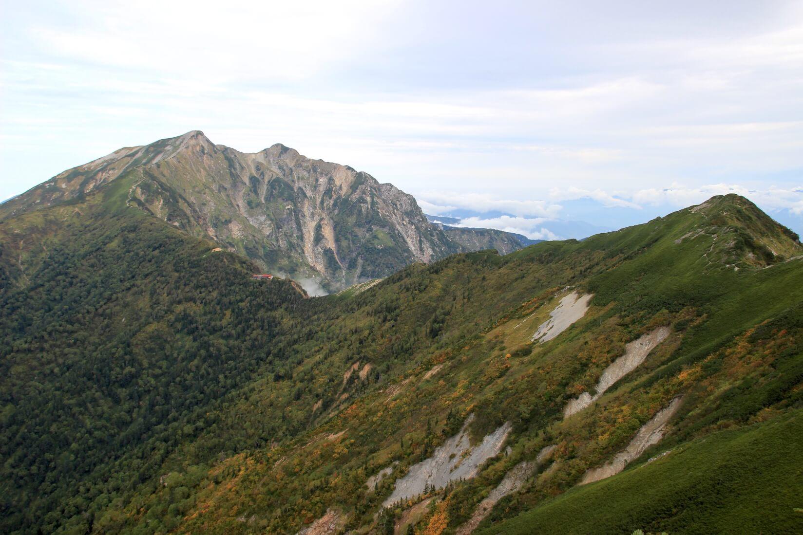 爺ヶ岳から鹿島槍ヶ岳にかけての稜線