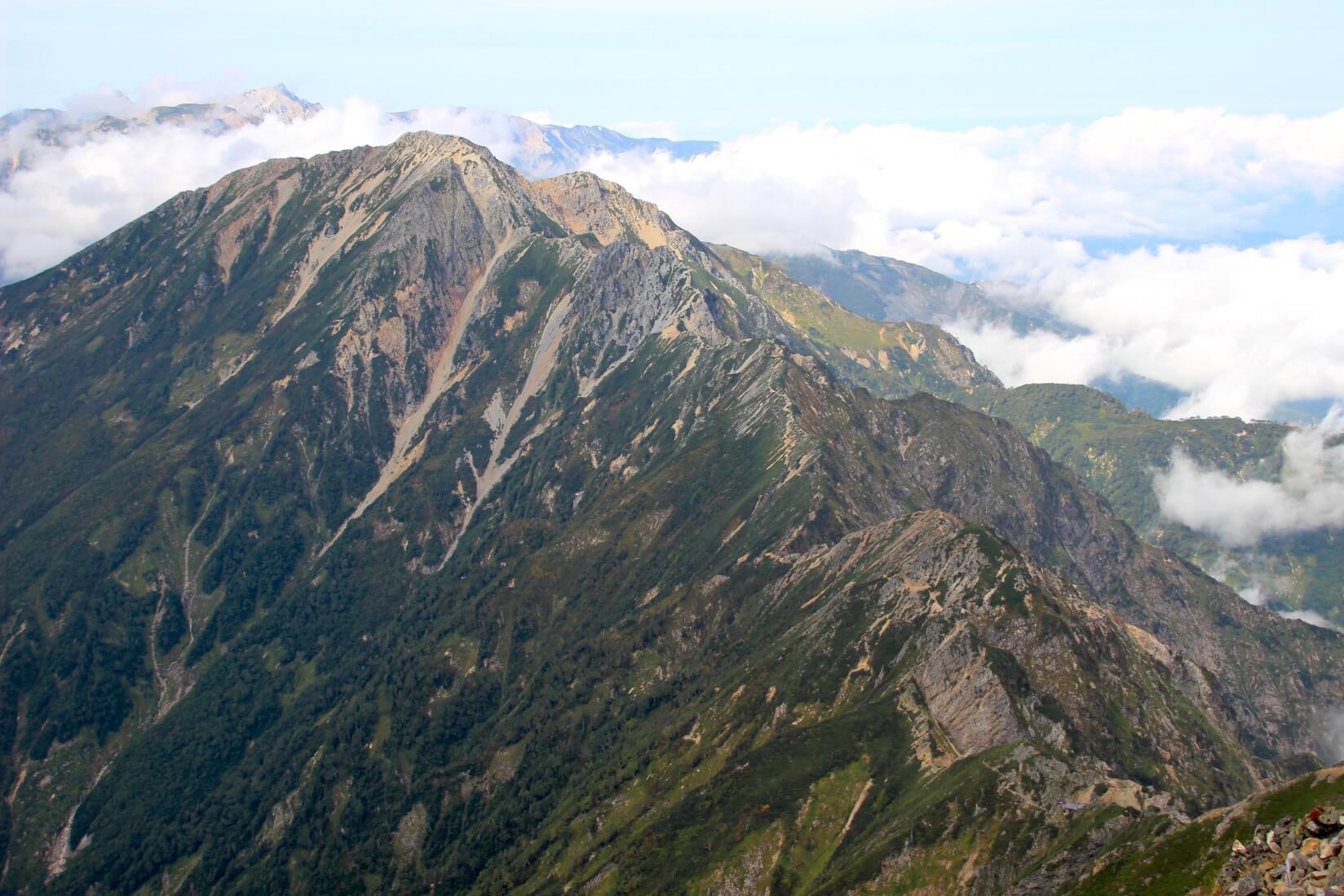 鹿島槍ヶ岳から八峰キレット方向