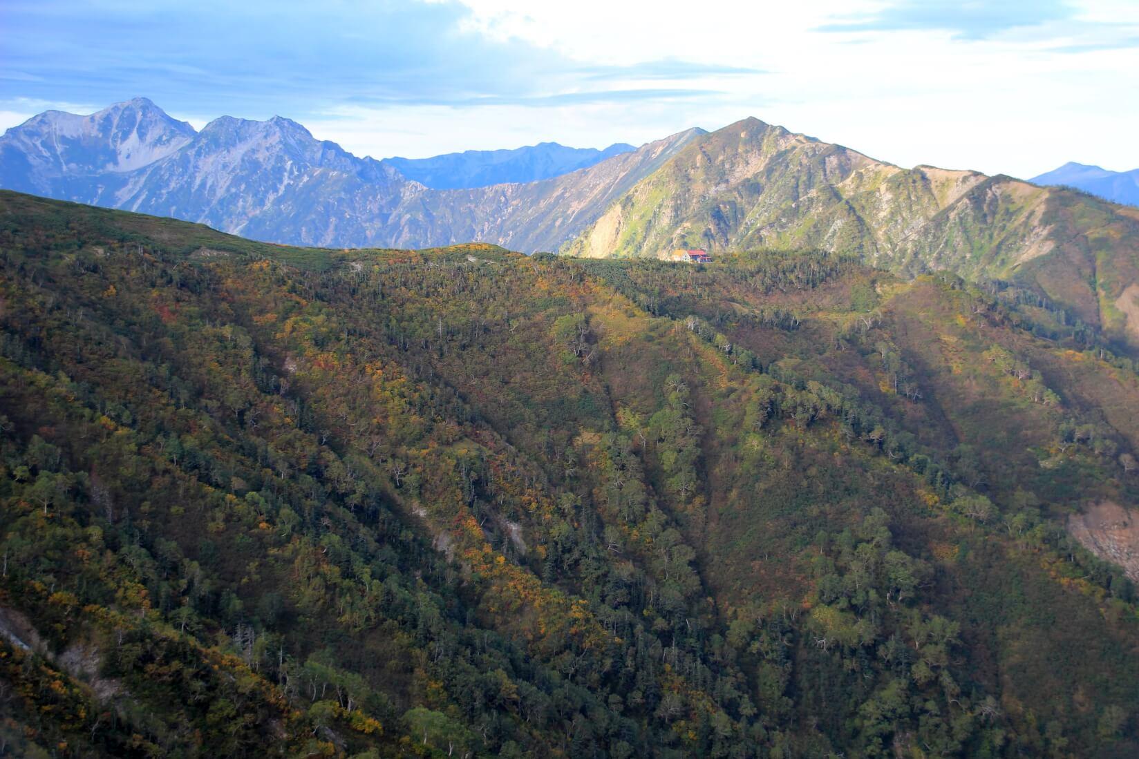 爺ヶ岳から種池山荘方向
