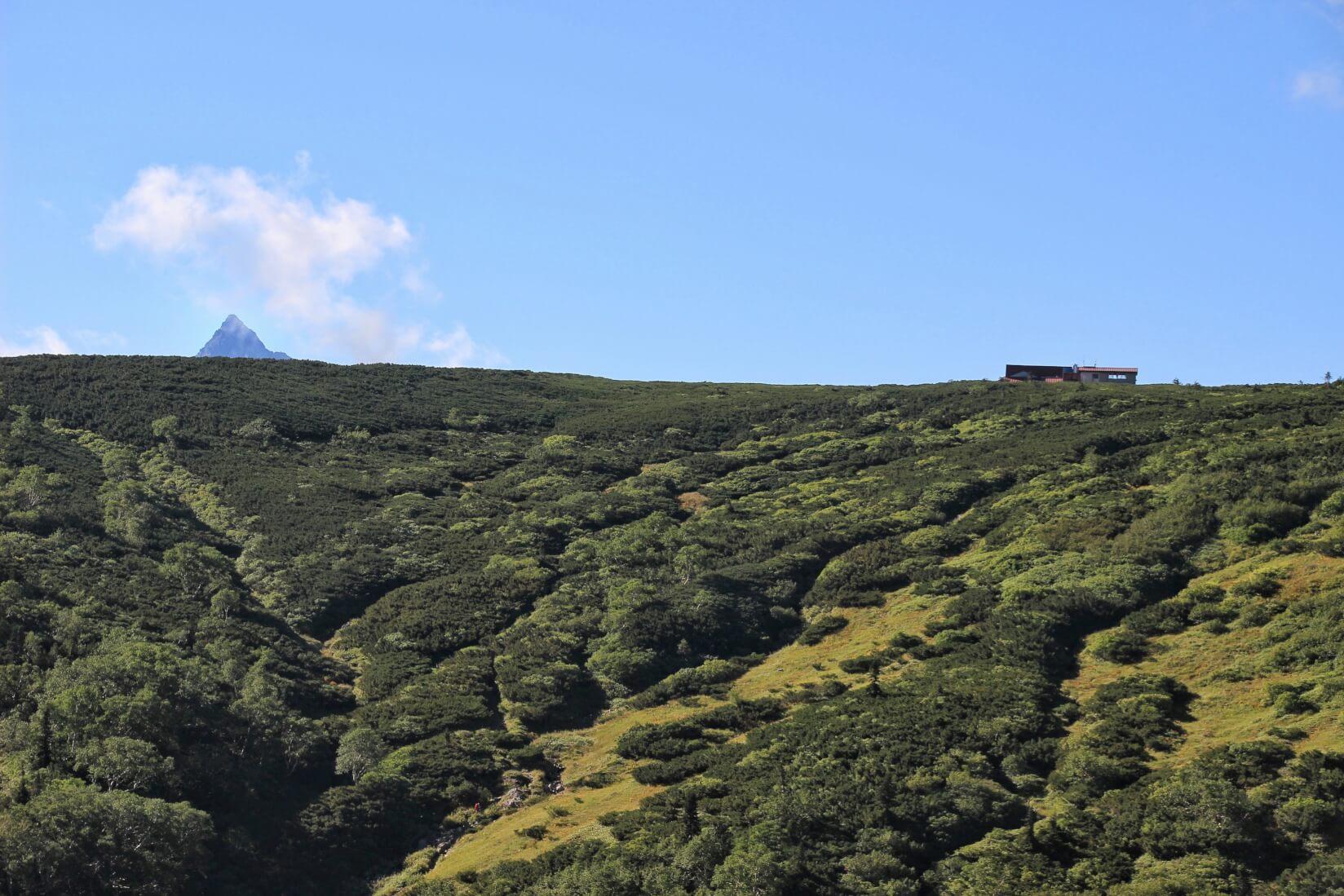 槍ヶ岳と三俣山荘
