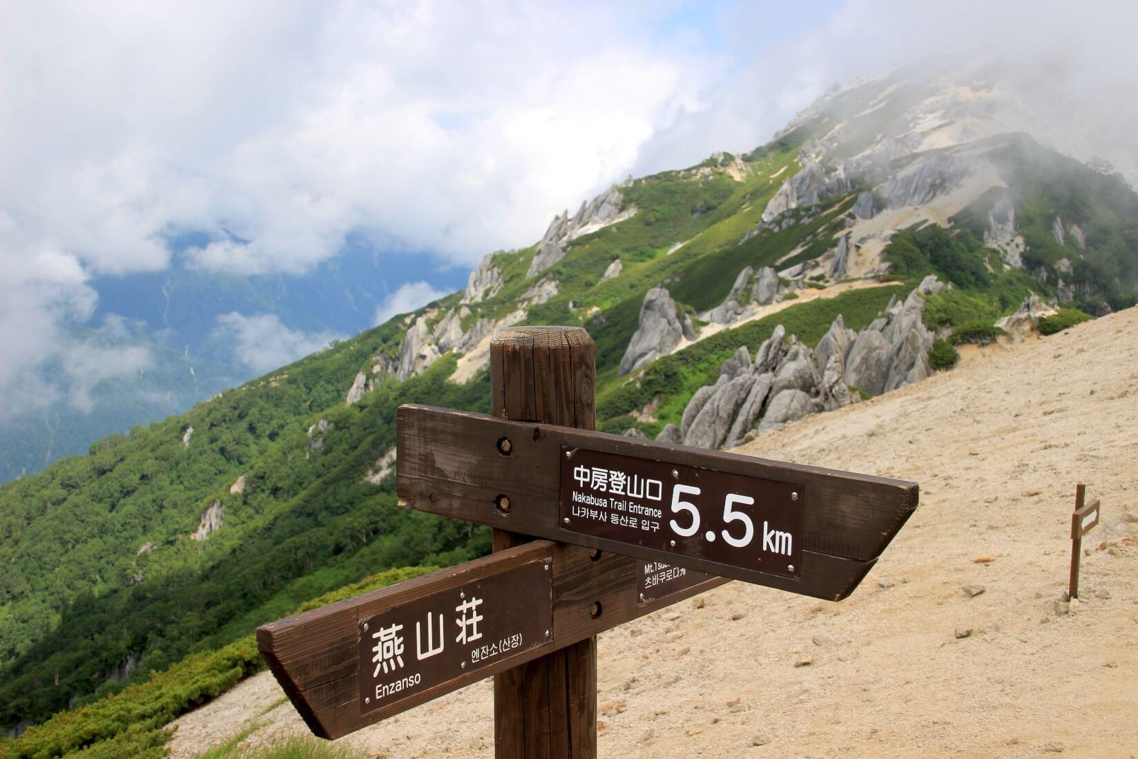 燕山荘前の道標