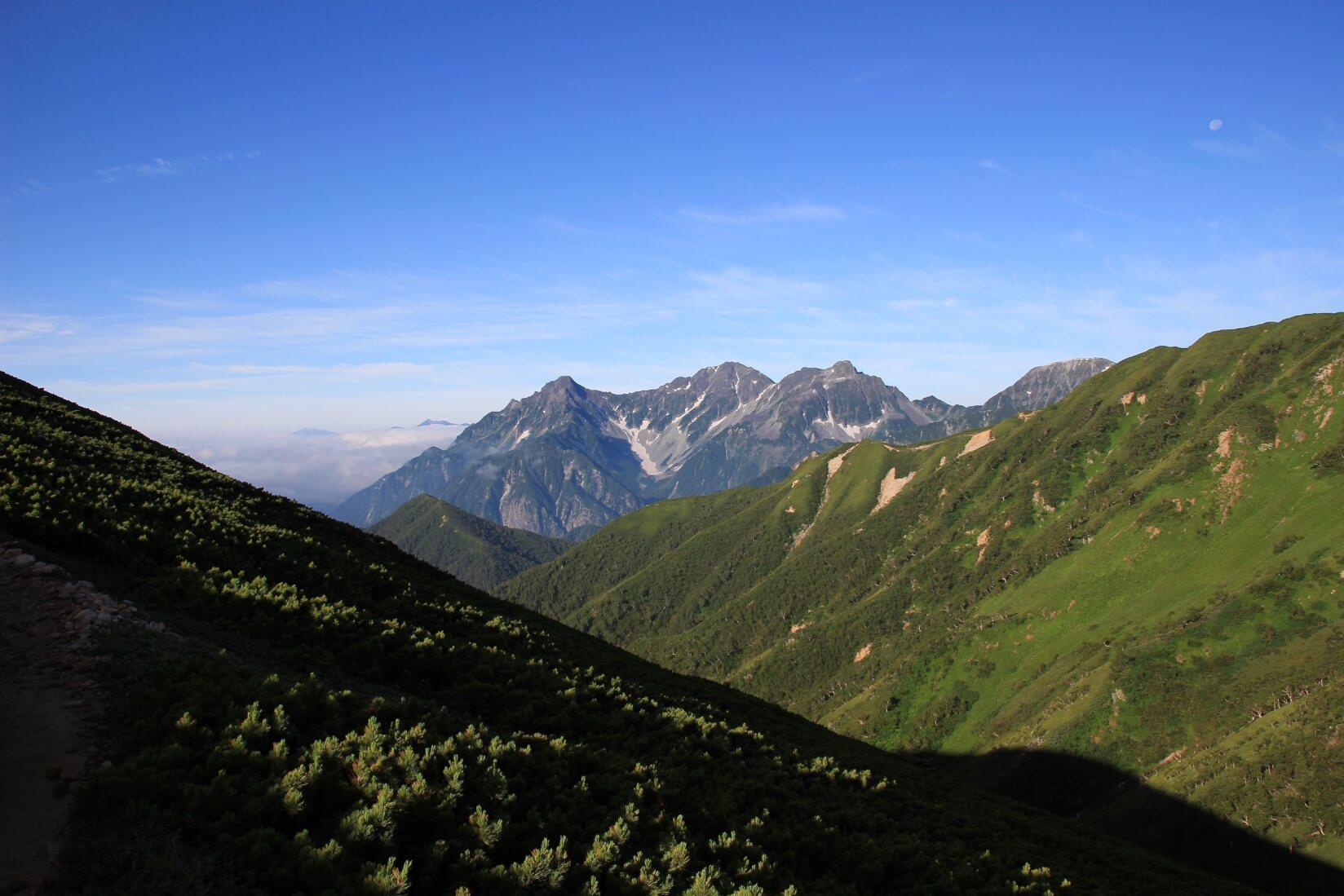 東天井岳付近から穂高岳